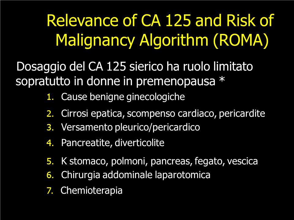 Relevance of CA 125 and Risk of Malignancy Algorithm (ROMA) Dosaggio del CA 125 sierico ha ruolo limitato sopratutto in donne in premenopausa * 1. Cau