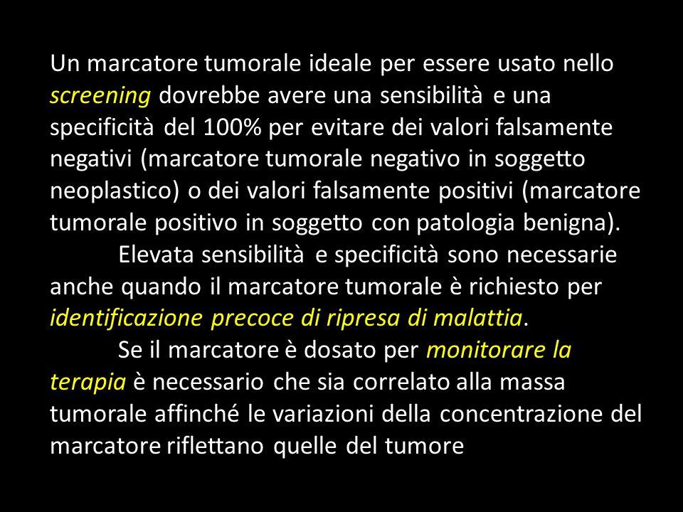 Un marcatore tumorale ideale per essere usato nello screening dovrebbe avere una sensibilità e una specificità del 100% per evitare dei valori falsame