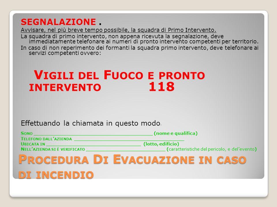 P ROCEDURA D I E VACUAZIONE IN CASO DI INCENDIO SEGNALAZIONE.