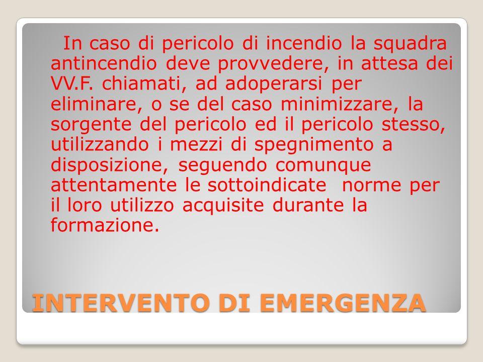 INTERVENTO DI EMERGENZA In caso di pericolo di incendio la squadra antincendio deve provvedere, in attesa dei VV.F.