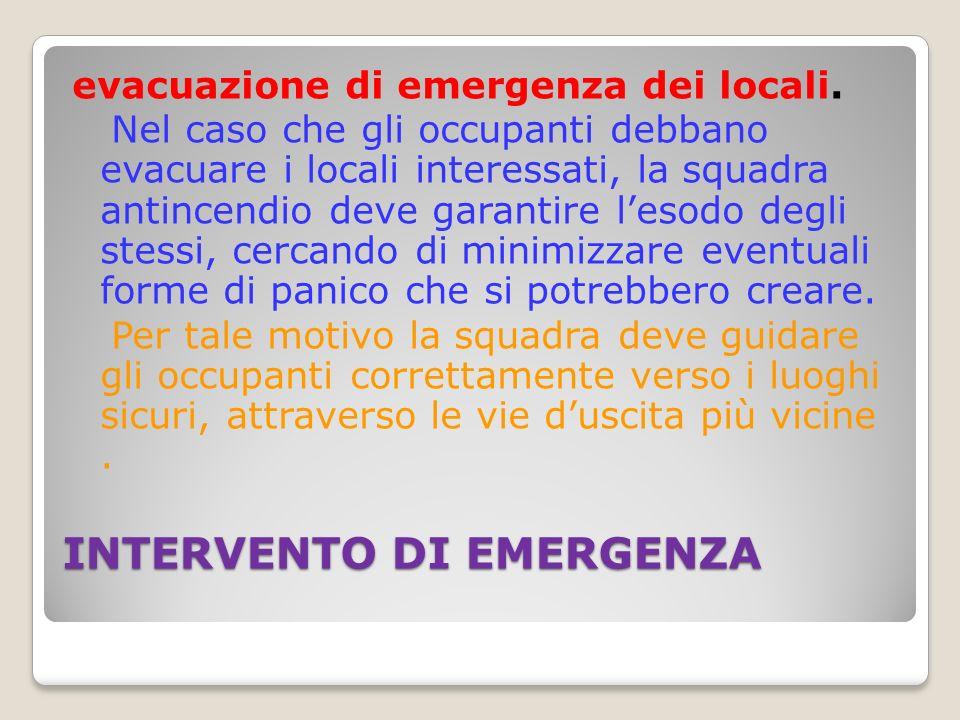 INTERVENTO DI EMERGENZA evacuazione di emergenza dei locali.