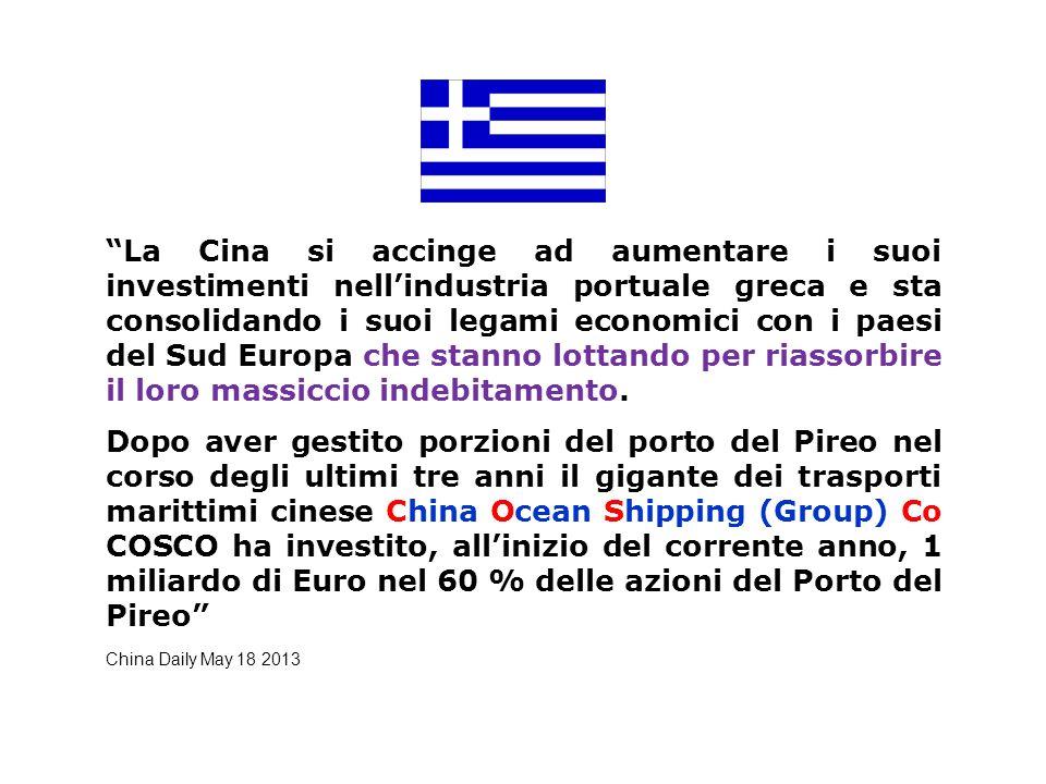 La Cina si accinge ad aumentare i suoi investimenti nellindustria portuale greca e sta consolidando i suoi legami economici con i paesi del Sud Europa che stanno lottando per riassorbire il loro massiccio indebitamento.