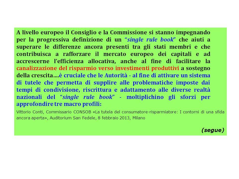A livello europeo il Consiglio e la Commissione si stanno impegnando per la progressiva definizione di un single rule book che aiuti a superare le dif