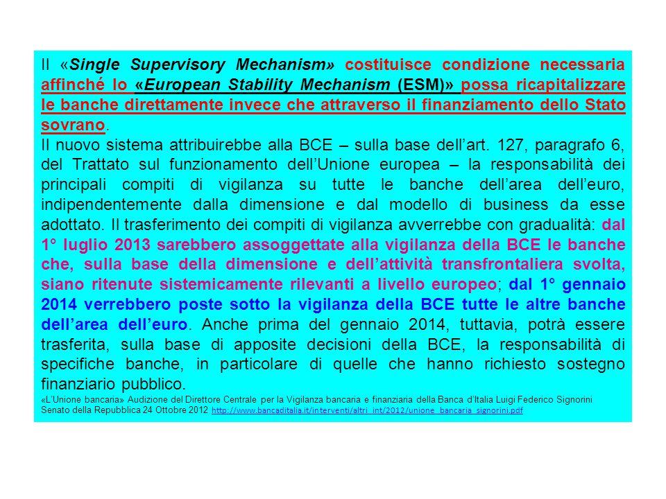 Il «Single Supervisory Mechanism» costituisce condizione necessaria affinché lo «European Stability Mechanism (ESM)» possa ricapitalizzare le banche direttamente invece che attraverso il finanziamento dello Stato sovrano.