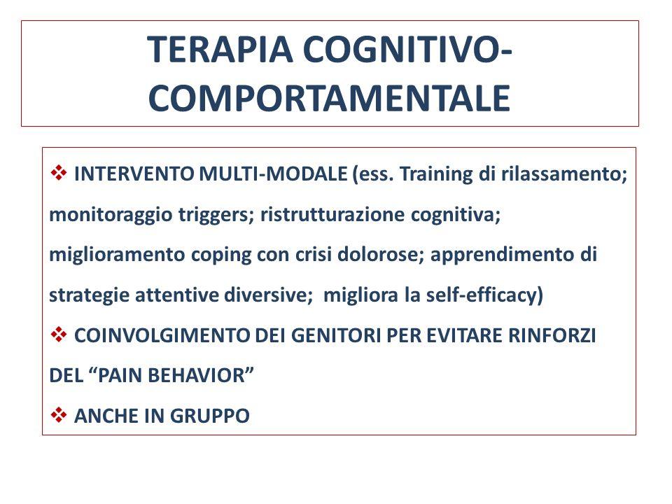 TERAPIA COGNITIVO- COMPORTAMENTALE INTERVENTO MULTI-MODALE (ess. Training di rilassamento; monitoraggio triggers; ristrutturazione cognitiva; migliora