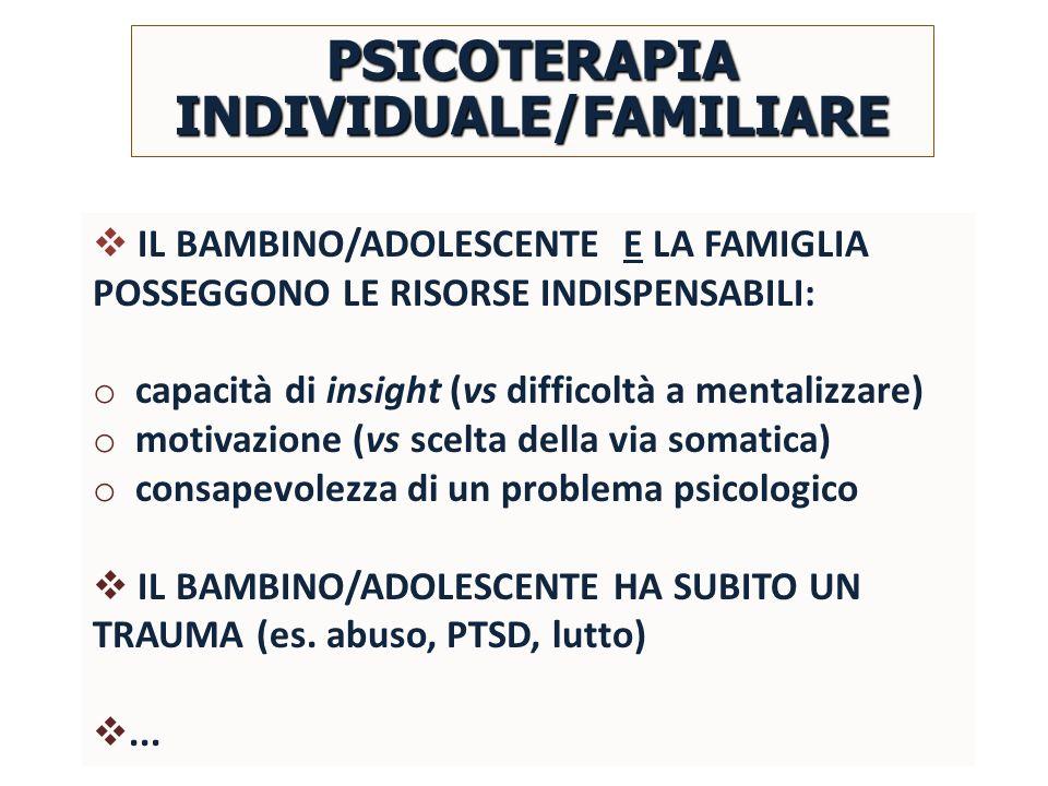 IL BAMBINO/ADOLESCENTE E LA FAMIGLIA POSSEGGONO LE RISORSE INDISPENSABILI: o capacità di insight (vs difficoltà a mentalizzare) o motivazione (vs scel