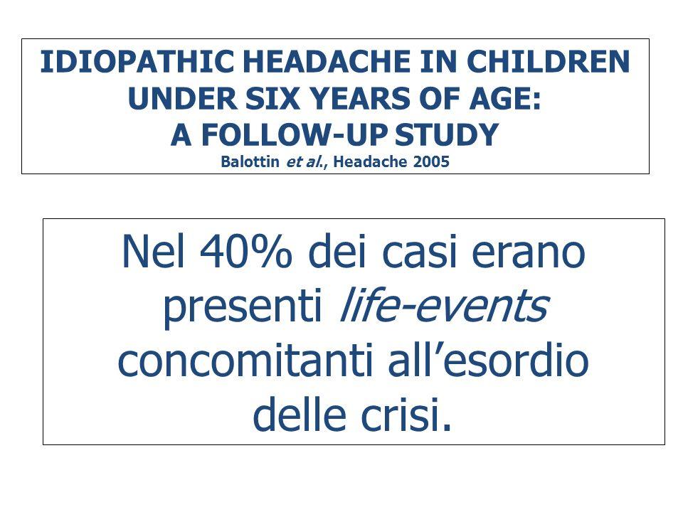 IDIOPATHIC HEADACHE IN CHILDREN UNDER SIX YEARS OF AGE: A FOLLOW-UP STUDY Balottin et al., Headache 2005 Nel 40% dei casi erano presenti life-events c