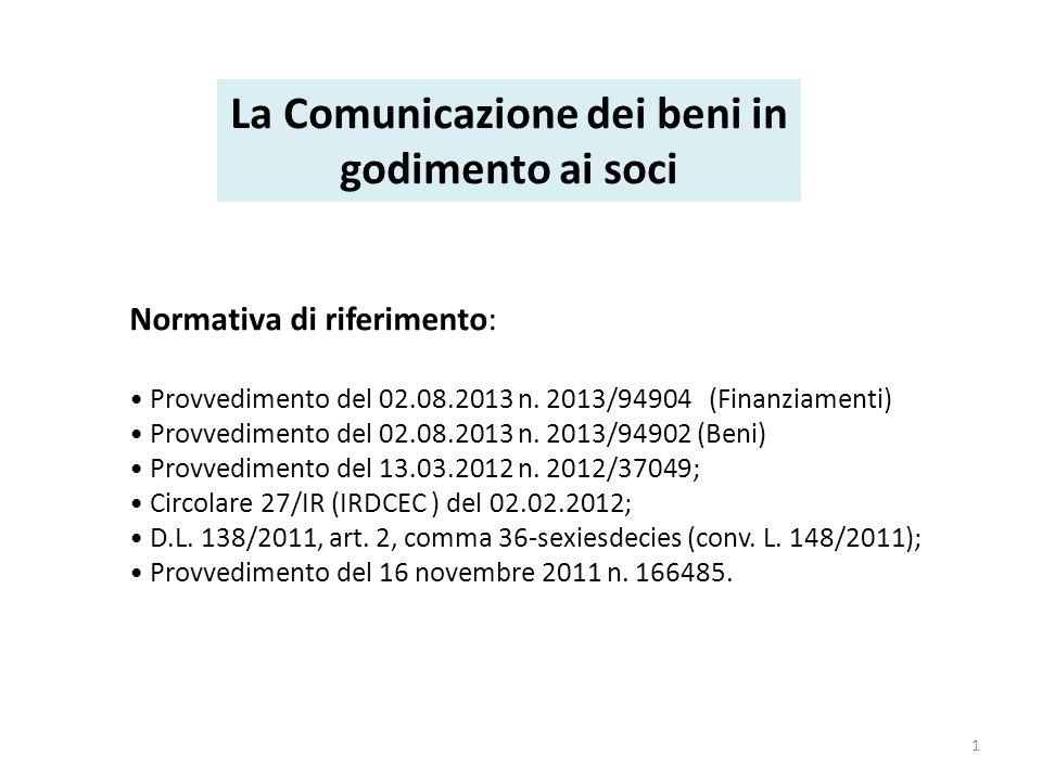 Normativa di riferimento: Provvedimento del 02.08.2013 n.