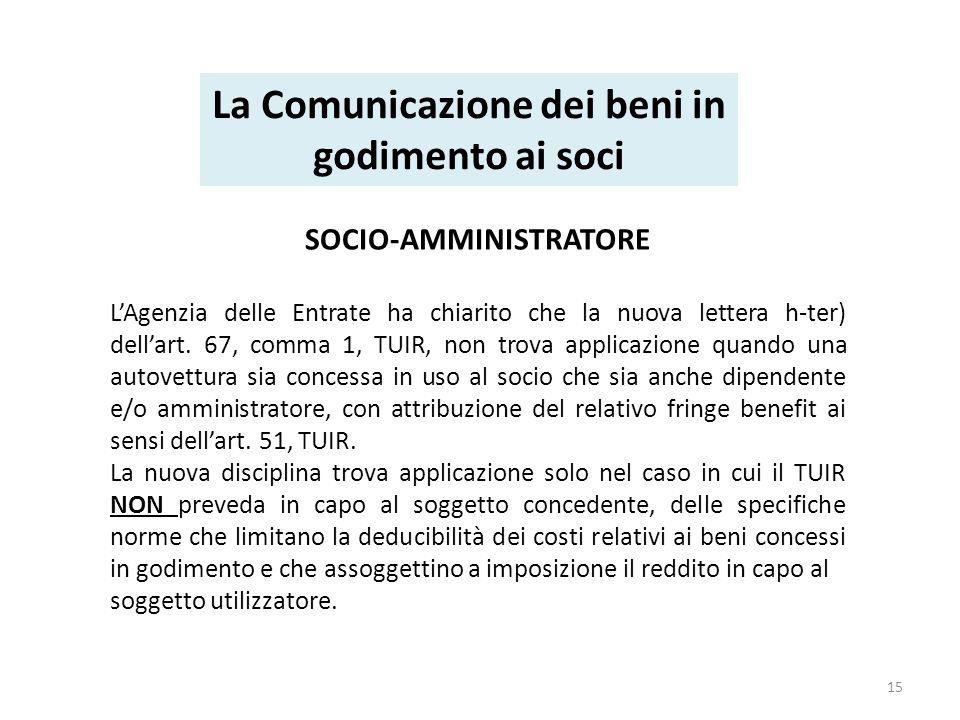 SOCIO-AMMINISTRATORE LAgenzia delle Entrate ha chiarito che la nuova lettera h-ter) dellart.