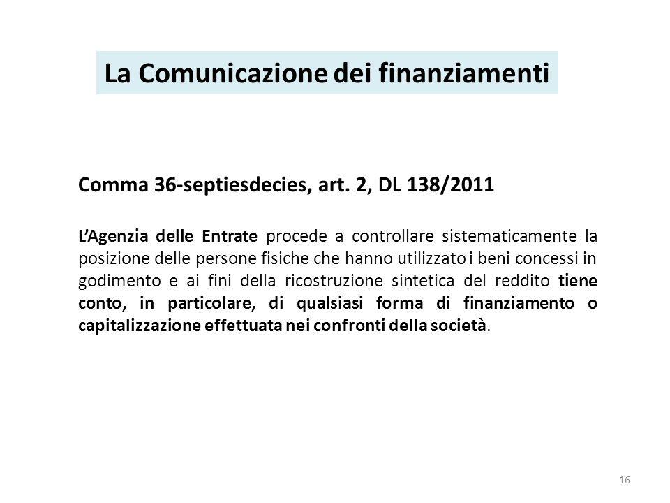 Comma 36-septiesdecies, art. 2, DL 138/2011 LAgenzia delle Entrate procede a controllare sistematicamente la posizione delle persone fisiche che hanno