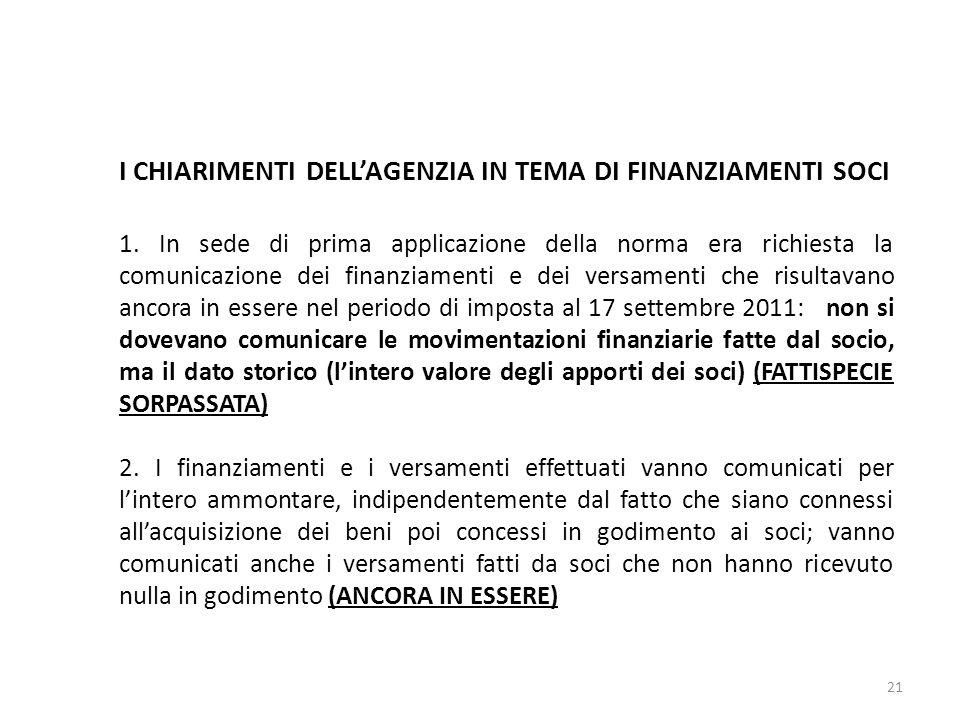 I CHIARIMENTI DELLAGENZIA IN TEMA DI FINANZIAMENTI SOCI 1.