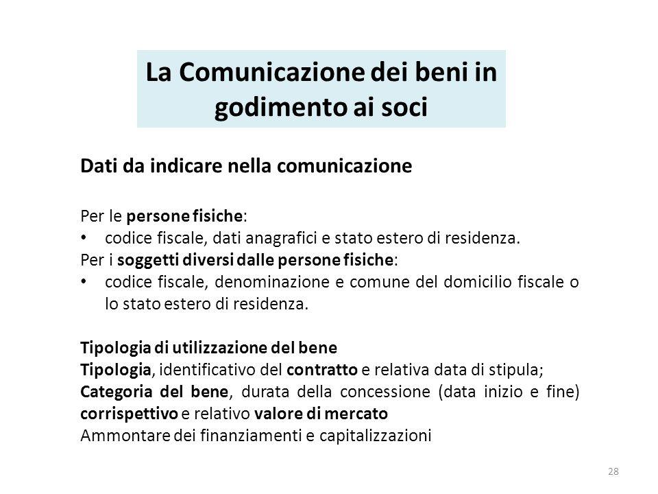 Dati da indicare nella comunicazione Per le persone fisiche: codice fiscale, dati anagrafici e stato estero di residenza.