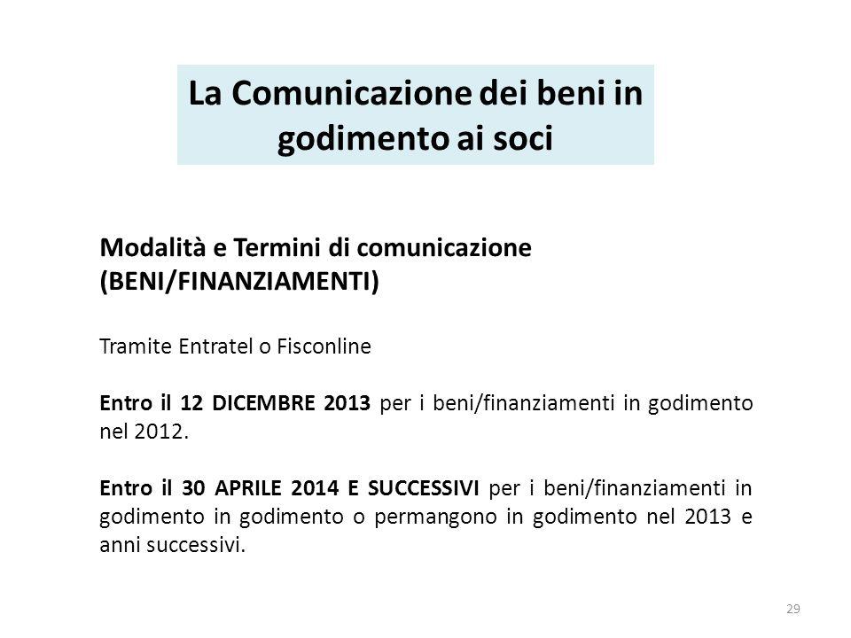 Modalità e Termini di comunicazione (BENI/FINANZIAMENTI) Tramite Entratel o Fisconline Entro il 12 DICEMBRE 2013 per i beni/finanziamenti in godimento nel 2012.