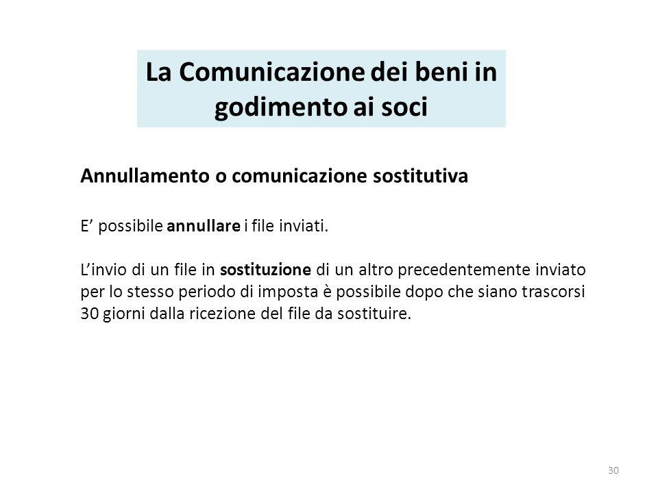 Annullamento o comunicazione sostitutiva E possibile annullare i file inviati.