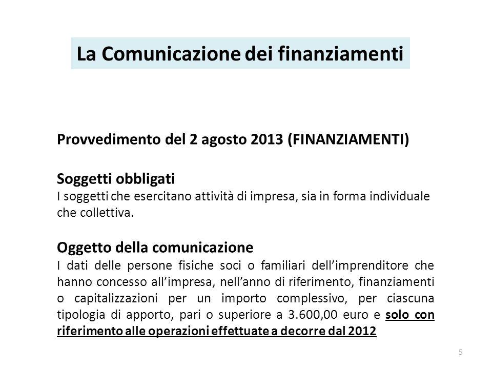 Provvedimento del 2 agosto 2013 (FINANZIAMENTI) Soggetti obbligati I soggetti che esercitano attività di impresa, sia in forma individuale che collettiva.