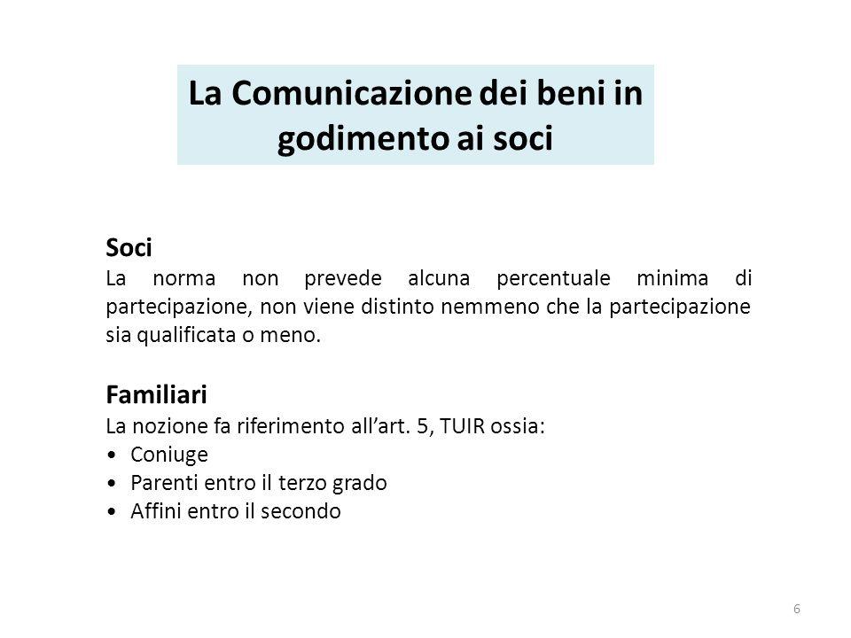 Provvedimento del 16 novembre 2011 / 2 agosto 2013 Soggetti esclusi dalla comunicazione Professionisti e associazioni professionali; Enti non commerciali che non svolgono attività dimpresa; Società semplici.
