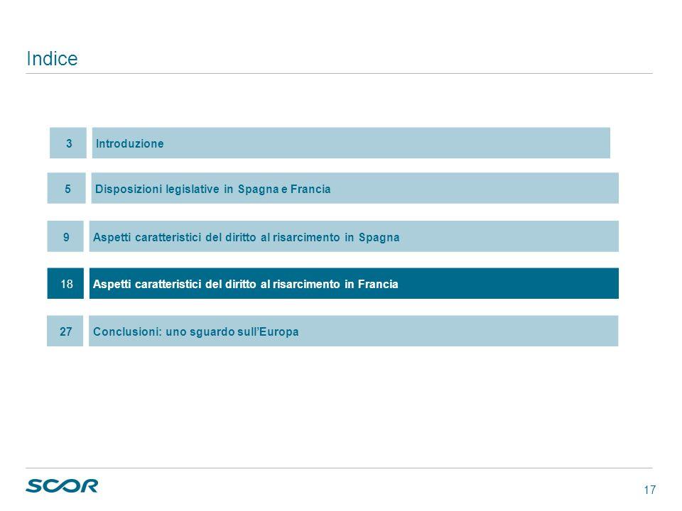 17 Indice 18Aspetti caratteristici del diritto al risarcimento in Francia 5Disposizioni legislative in Spagna e Francia 9Aspetti caratteristici del di
