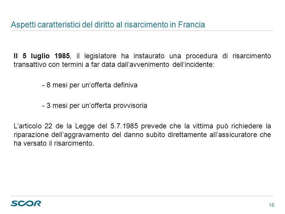 18 Aspetti caratteristici del diritto al risarcimento in Francia Il 5 luglio 1985, il legislatore ha instaurato una procedura di risarcimento transatt