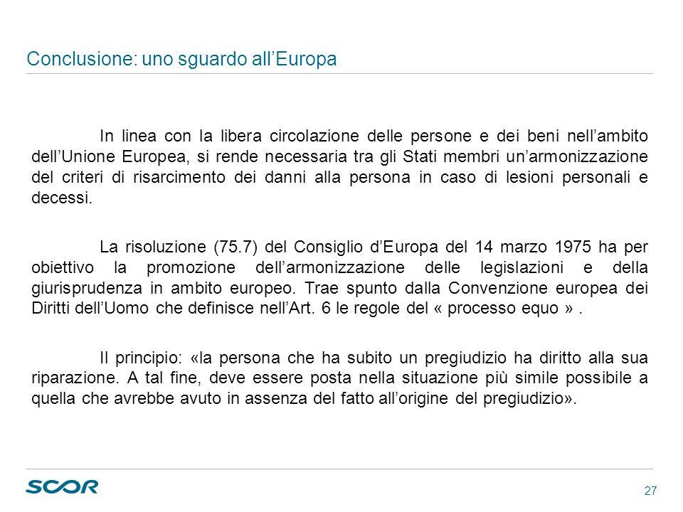 27 Conclusione: uno sguardo allEuropa In linea con la libera circolazione delle persone e dei beni nellambito dellUnione Europea, si rende necessaria