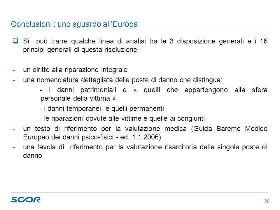 28 Conclusioni : uno sguardo allEuropa Si può trarre qualche linea di analisi tra le 3 disposizione generali e i 16 principi generali di questa risolu