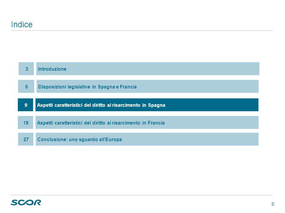 8 Indice 9Aspetti caratteristici del diritto al risarcimento in Spagna 5Disposizioni legislative in Spagna e Francia 18Aspetti caratteristici del diri