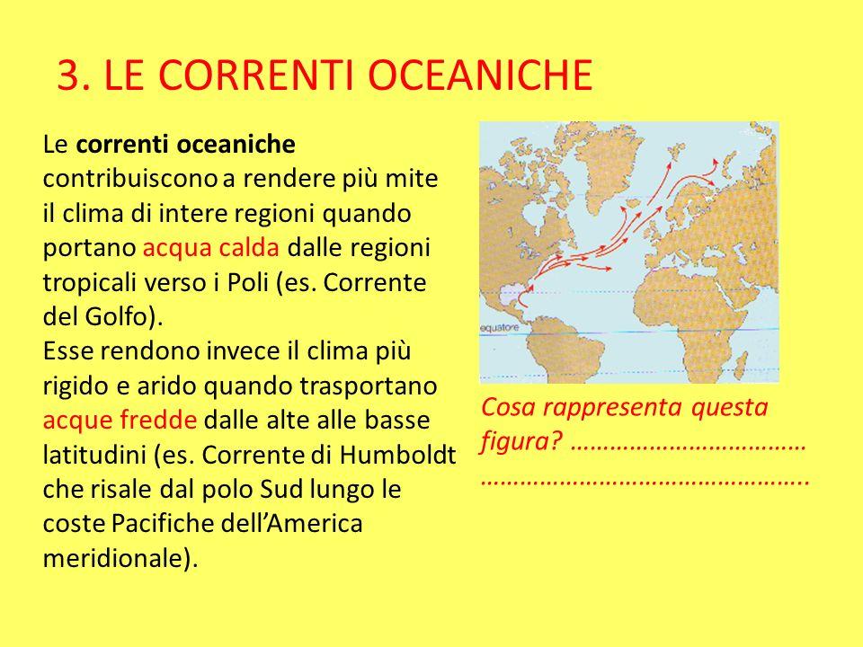 Le correnti oceaniche contribuiscono a rendere più mite il clima di intere regioni quando portano acqua calda dalle regioni tropicali verso i Poli (es