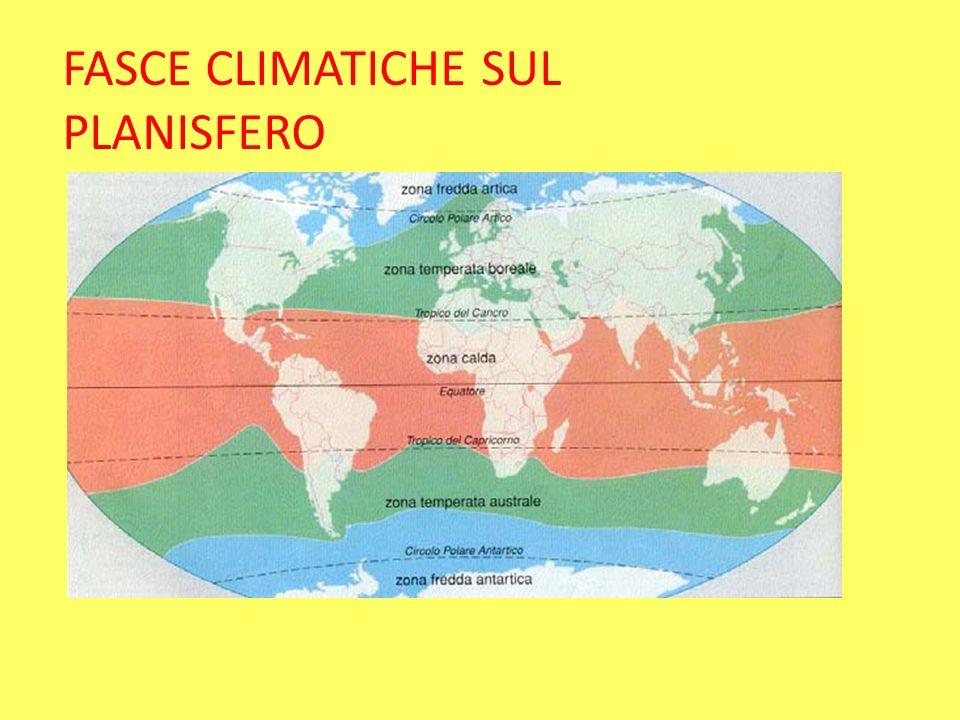 FASCE CLIMATICHE SUL PLANISFERO