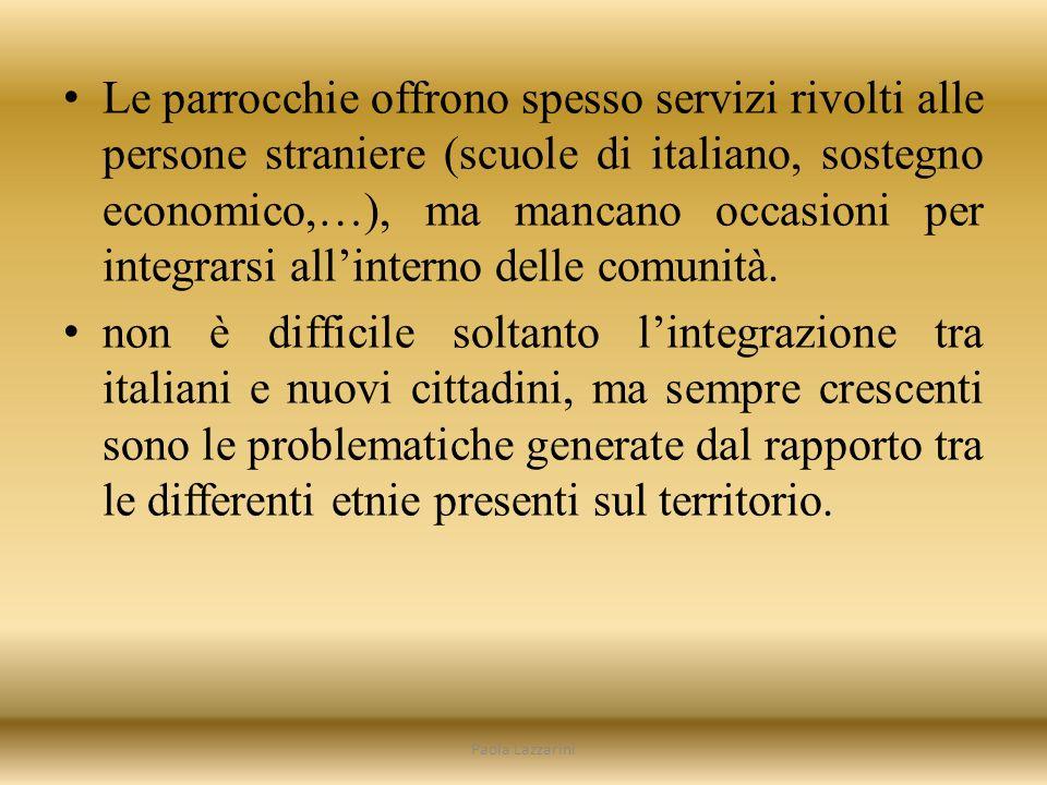 Le parrocchie offrono spesso servizi rivolti alle persone straniere (scuole di italiano, sostegno economico,…), ma mancano occasioni per integrarsi allinterno delle comunità.
