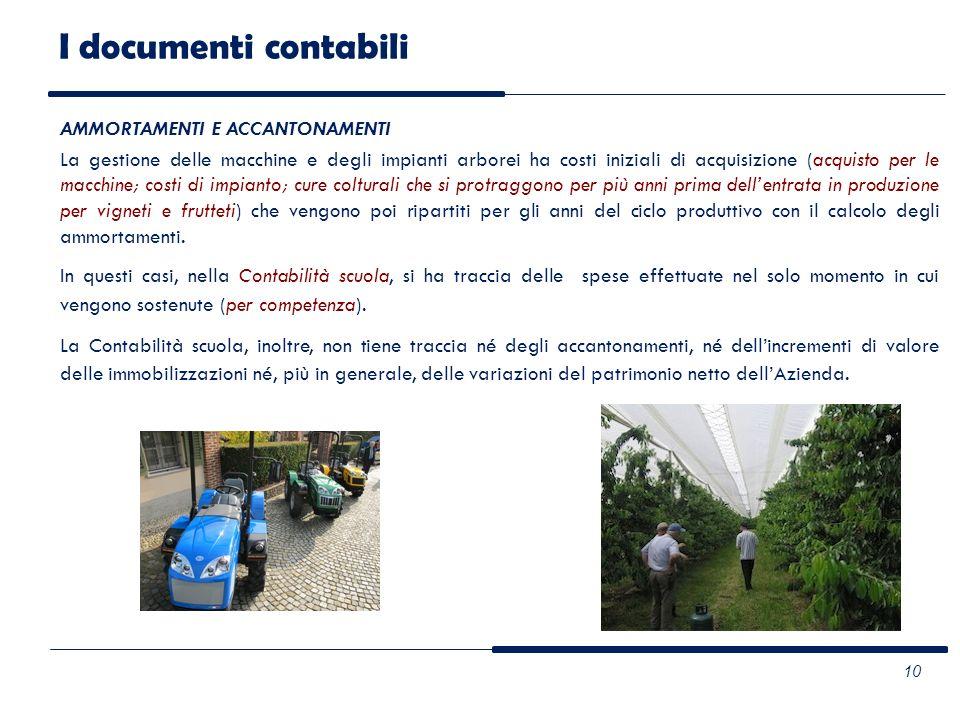 AMMORTAMENTI E ACCANTONAMENTI La gestione delle macchine e degli impianti arborei ha costi iniziali di acquisizione (acquisto per le macchine; costi d