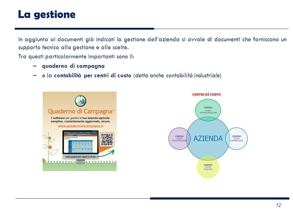 In aggiunta ai documenti già indicati la gestione dellazienda si avvale di documenti che forniscono un supporto tecnico alla gestione e alle scelte. T