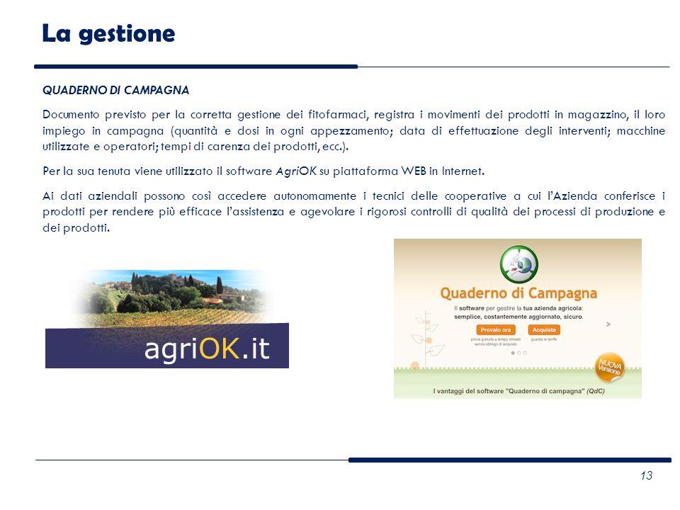 QUADERNO DI CAMPAGNA Documento previsto per la corretta gestione dei fitofarmaci, registra i movimenti dei prodotti in magazzino, il loro impiego in c
