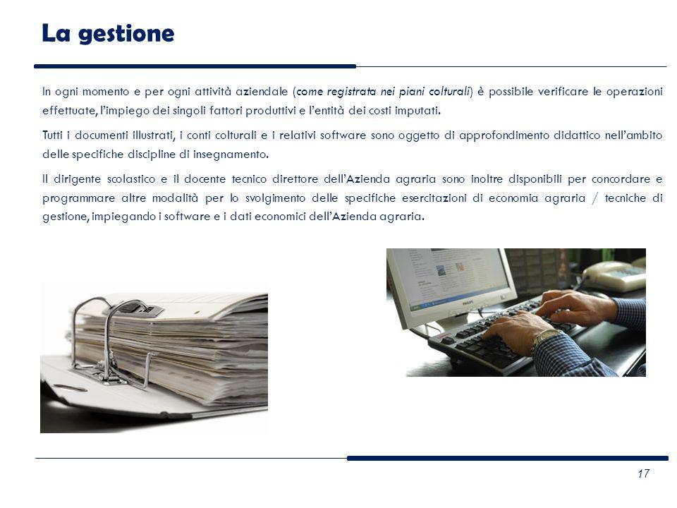 La gestione In ogni momento e per ogni attività aziendale (come registrata nei piani colturali) è possibile verificare le operazioni effettuate, limpi