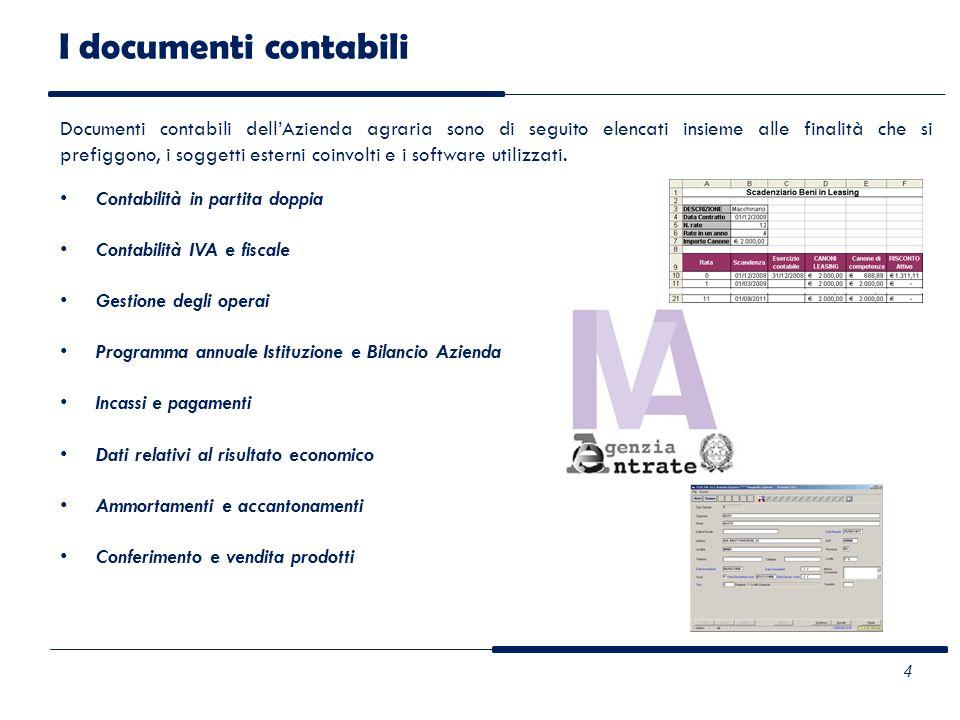 I documenti contabili Documenti contabili dellAzienda agraria sono di seguito elencati insieme alle finalità che si prefiggono, i soggetti esterni coi