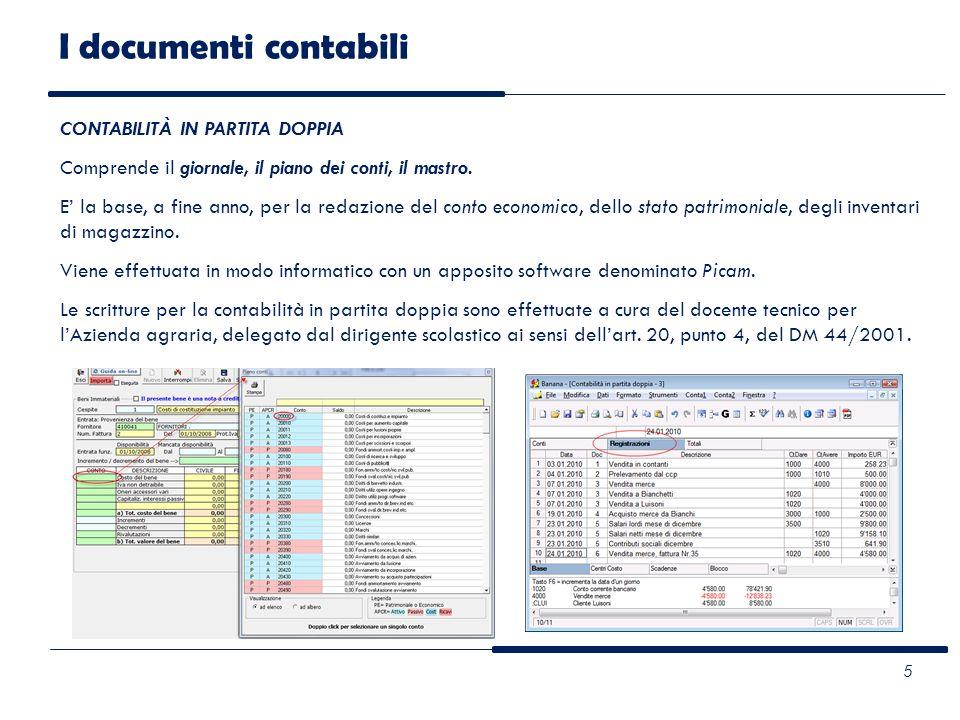I documenti contabili CONTABILITÀ IN PARTITA DOPPIA Comprende il giornale, il piano dei conti, il mastro. E la base, a fine anno, per la redazione del
