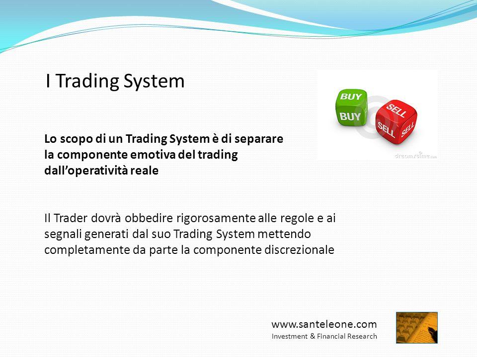 www.santeleone.com Investment & Financial Research I Trading System Lo scopo di un Trading System è di separare la componente emotiva del trading dall