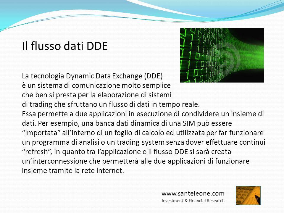 www.santeleone.com Investment & Financial Research Il flusso dati DDE La tecnologia Dynamic Data Exchange (DDE) è un sistema di comunicazione molto semplice che ben si presta per la elaborazione di sistemi di trading che sfruttano un flusso di dati in tempo reale.