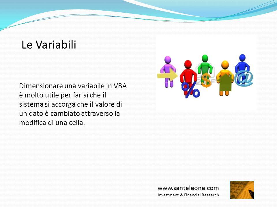 www.santeleone.com Investment & Financial Research Le Variabili Dimensionare una variabile in VBA è molto utile per far sì che il sistema si accorga che il valore di un dato è cambiato attraverso la modifica di una cella.