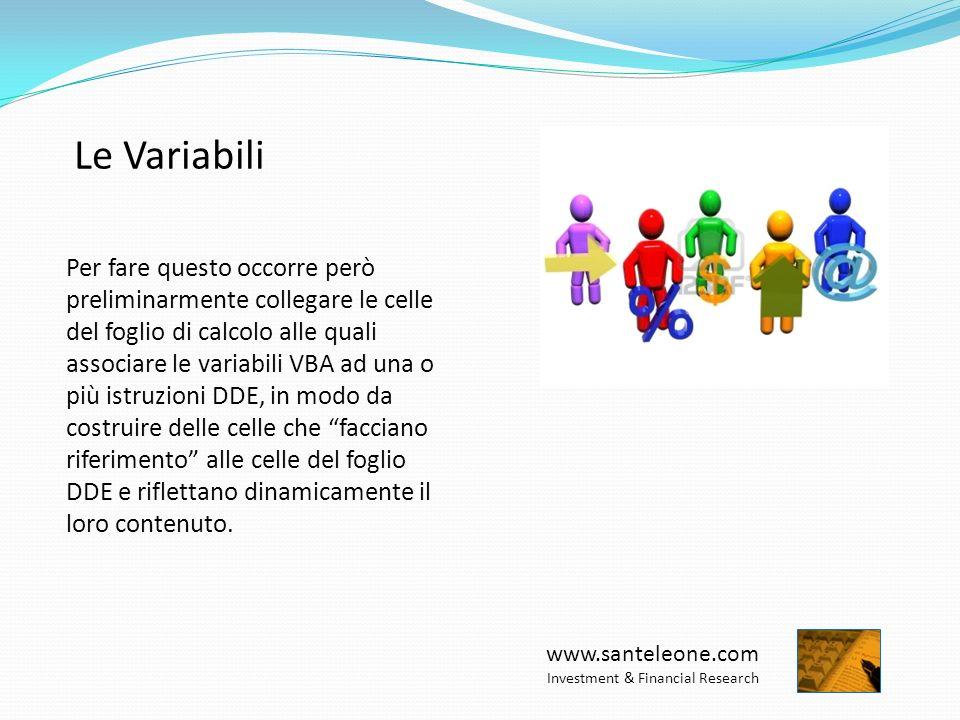 www.santeleone.com Investment & Financial Research Le Variabili Per fare questo occorre però preliminarmente collegare le celle del foglio di calcolo