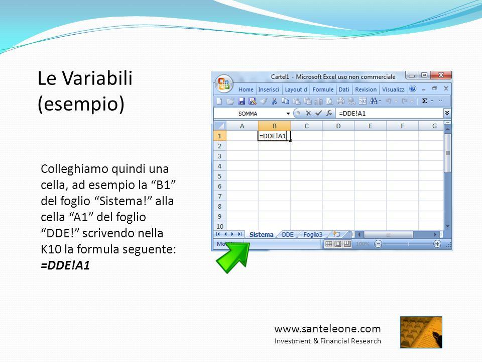 www.santeleone.com Investment & Financial Research Le Variabili (esempio) Colleghiamo quindi una cella, ad esempio la B1 del foglio Sistema.