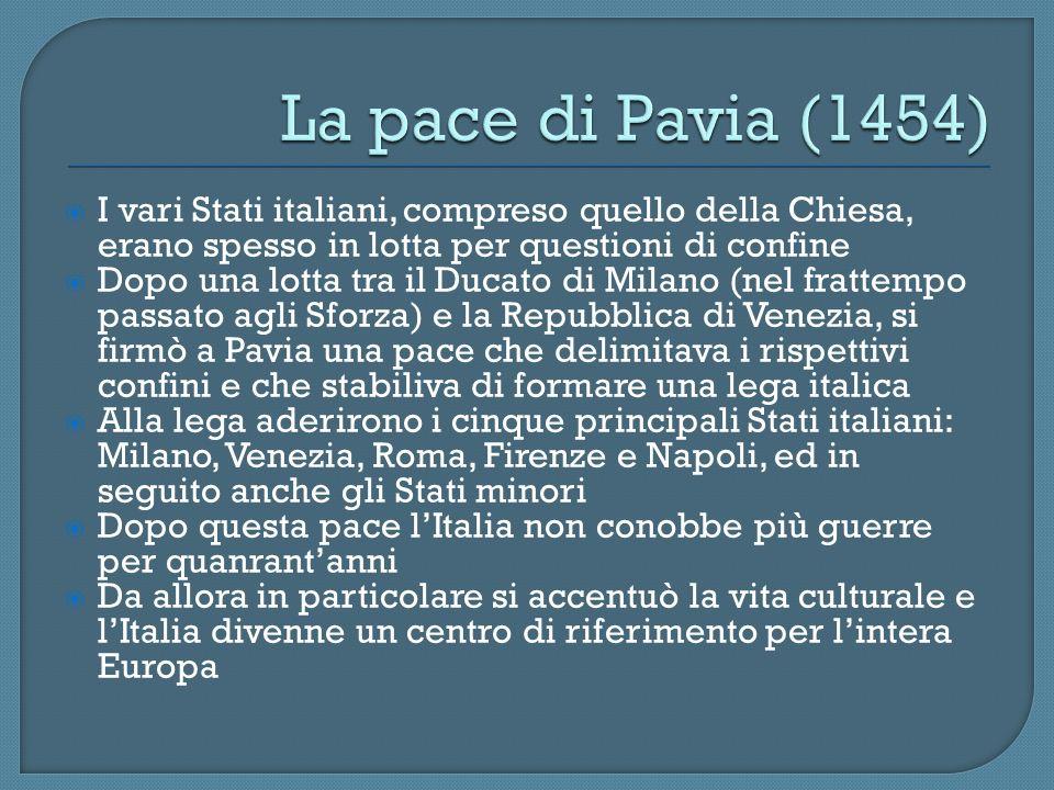 I vari Stati italiani, compreso quello della Chiesa, erano spesso in lotta per questioni di confine Dopo una lotta tra il Ducato di Milano (nel fratte
