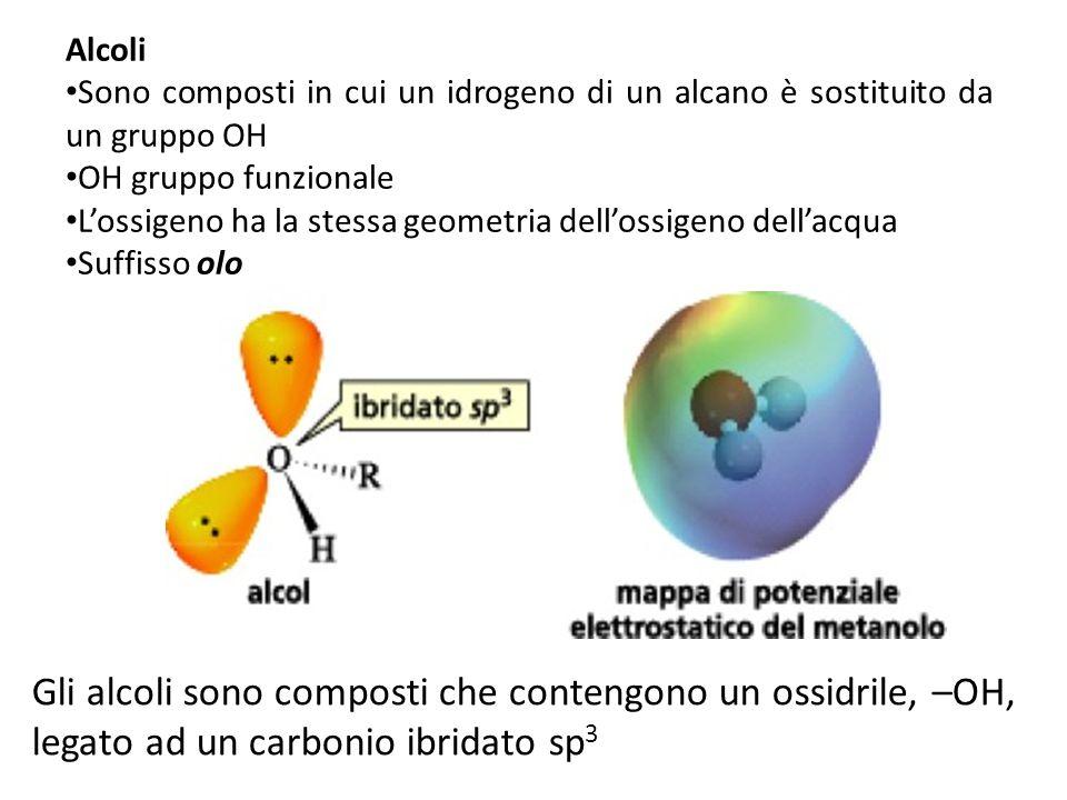 Alcoli Sono composti in cui un idrogeno di un alcano è sostituito da un gruppo OH OH gruppo funzionale Lossigeno ha la stessa geometria dellossigeno d