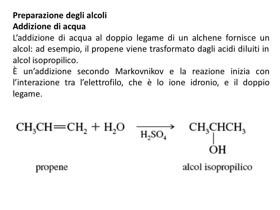 Preparazione degli alcoli Addizione di acqua Laddizione di acqua al doppio legame di un alchene fornisce un alcol: ad esempio, il propene viene trasfo