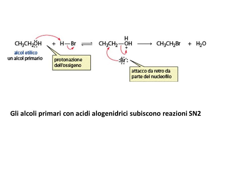 Gli alcoli primari con acidi alogenidrici subiscono reazioni SN2
