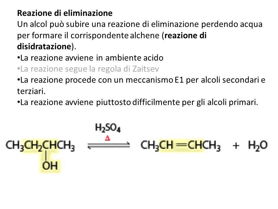 Reazione di eliminazione Un alcol può subire una reazione di eliminazione perdendo acqua per formare il corrispondente alchene (reazione di disidrataz