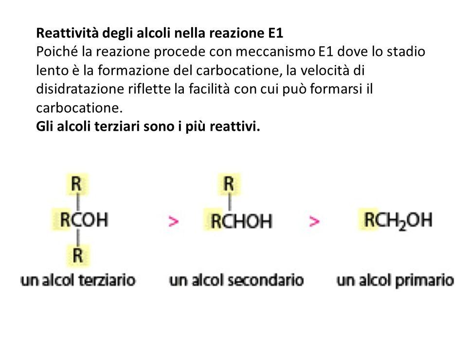 Reattività degli alcoli nella reazione E1 Poiché la reazione procede con meccanismo E1 dove lo stadio lento è la formazione del carbocatione, la veloc