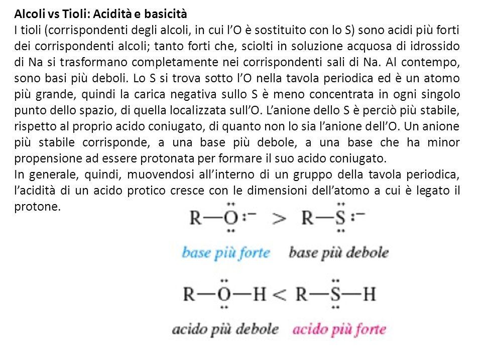 Alcoli vs Tioli: Acidità e basicità I tioli (corrispondenti degli alcoli, in cui lO è sostituito con lo S) sono acidi più forti dei corrispondenti alc