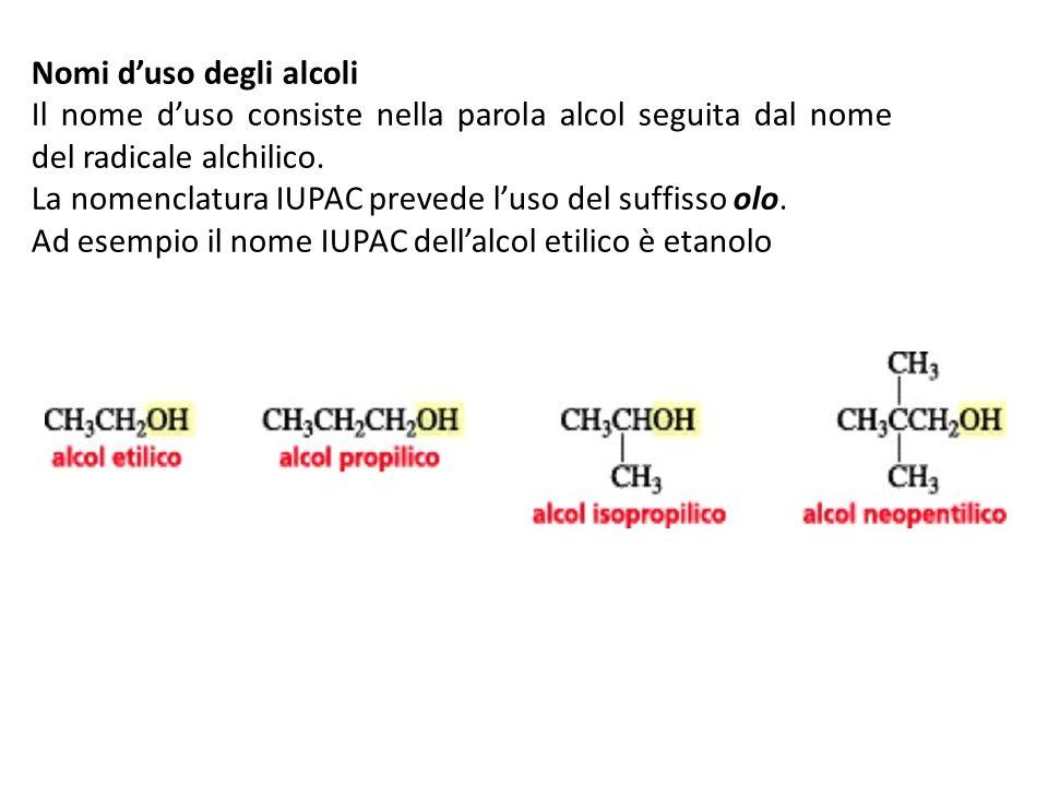 Nomi duso degli alcoli Il nome duso consiste nella parola alcol seguita dal nome del radicale alchilico. La nomenclatura IUPAC prevede luso del suffis