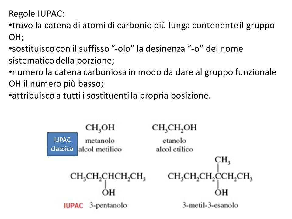 Regole IUPAC: trovo la catena di atomi di carbonio più lunga contenente il gruppo OH; sostituisco con il suffisso -olo la desinenza -o del nome sistem