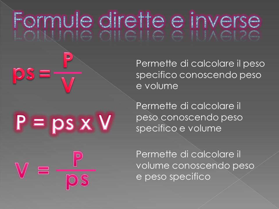 Permette di calcolare il peso conoscendo peso specifico e volume Permette di calcolare il peso specifico conoscendo peso e volume Permette di calcolar