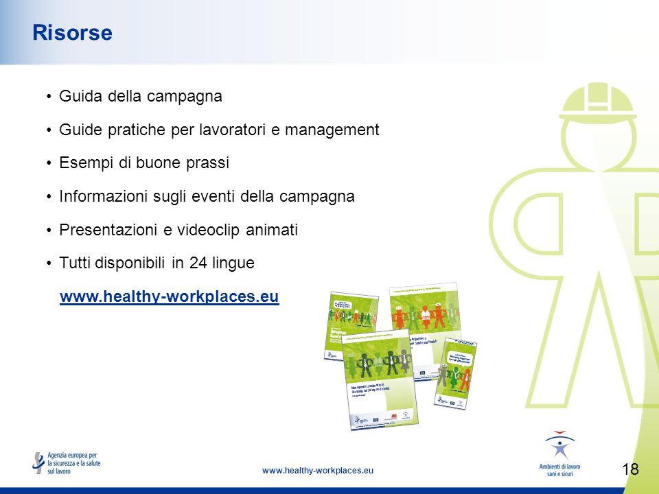 18 www.healthy-workplaces.eu Risorse Guida della campagna Guide pratiche per lavoratori e management Esempi di buone prassi Informazioni sugli eventi della campagna Presentazioni e videoclip animati Tutti disponibili in 24 lingue www.healthy-workplaces.eu